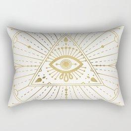 All-Seeing Eye Mandala – Gold Palette Rectangular Pillow