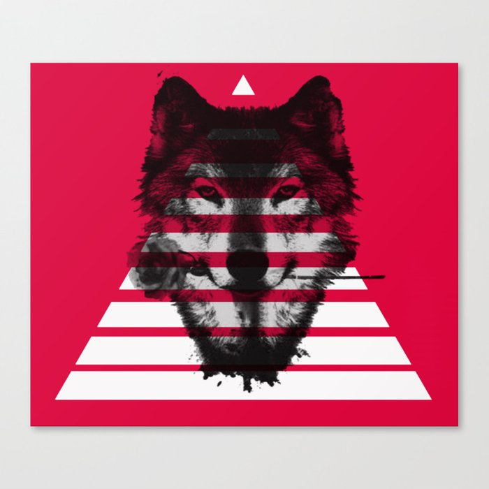 Red wolf white 4 Canvas Print