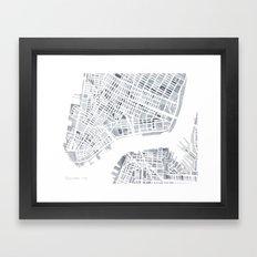 Map Manhattan Gray NYC Framed Art Print