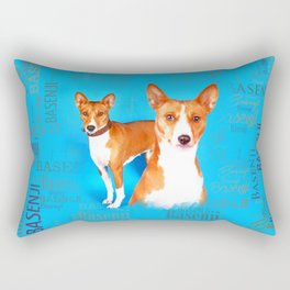 Basenji dogs  with Word cloud Pattern Rectangular Pillow