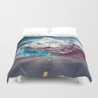 android Duvet Covers featuring The Last Stretch by Jenna Davis Designs