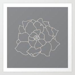 Gardenia Line Art - Grey Art Print