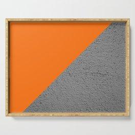 Cement vs Orange Diagonal Color-block Serving Tray