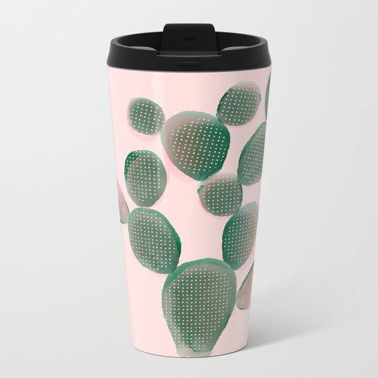 Watercolored Cactus on Pink Metal Travel Mug