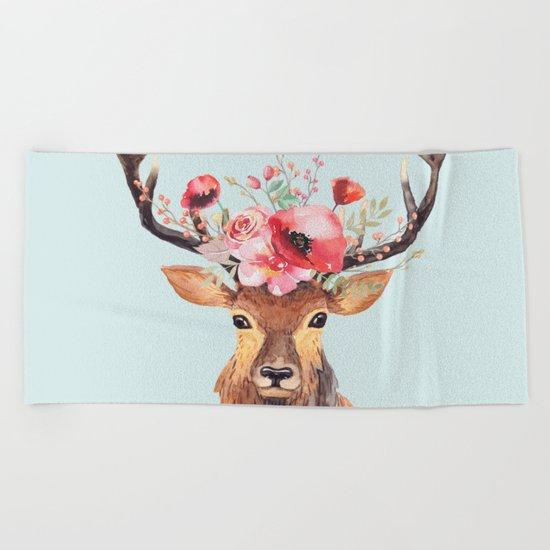Bohemian Deer 2 Beach Towel