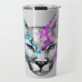 Watercolor snow panther leopard artsy watercolour cougar painting Travel Mug