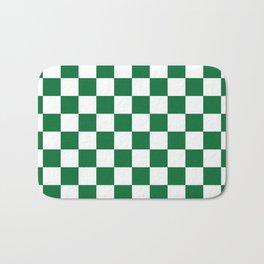 Checkered (Dark Green & White Pattern) Bath Mat
