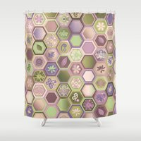 polygon Shower Curtains featuring Polygon pattern by /CAM
