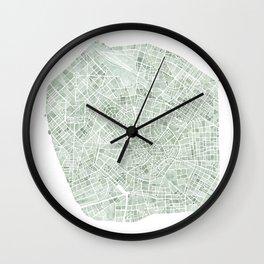 Milan Italy watercolor map Wall Clock