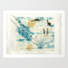 Mermaid of Zennor collagraph 3 Art Print
