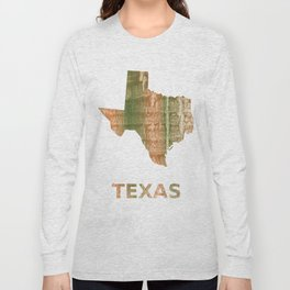 Texas map outline Brown green blurred watercolor texture Long Sleeve T-shirt