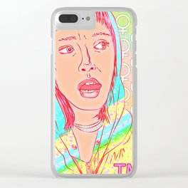 FEM NotShe - Hipster Chick Fashion Digital Drawing Clear iPhone Case