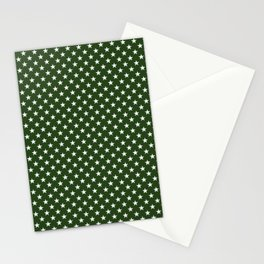 White Five Pointed Stars on Dark Forest Green Stationery Cards