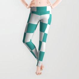 Checkered - White and Verdigris Leggings