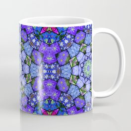 Garden mosaic kaleidoscope mandala - cool blues 2 Coffee Mug