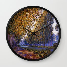 Paris, Moret Canal Autumn Foliage, French landscape by Francis Picabia Wall Clock