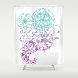 Equanimity / 1 Peter 5:7 / Pink Blue Shower Curtain