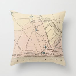 Vintage Map of Long Branch NJ (1872) Throw Pillow