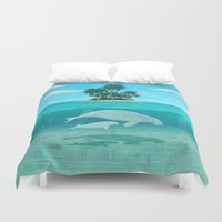 manatee Duvet Covers featuring Manatee Island by Lidra