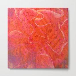 Flaming Rose, Floral Abstract Art Metal Print