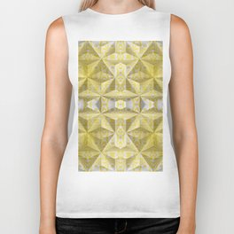 Geometric 3D Diamond Yellow Gold Print Biker Tank