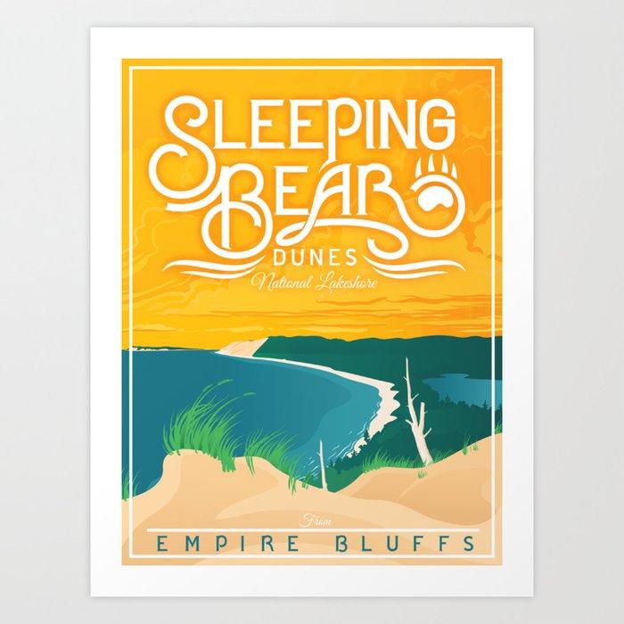 Sleeping Bear Dunes - Vintage Inspired Michigan Travel Poster Kunstdrucke