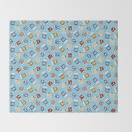 Cozy Mugs - Bg Blue Wood Throw Blanket