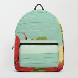 Hibiscus Beach - Red Tropical Flowers  Backpack