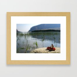 Suntan lotion and relax on the lake. Framed Art Print