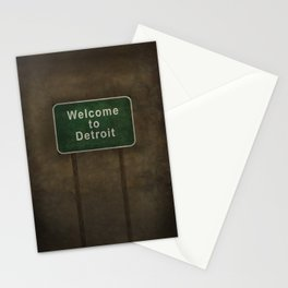 Welcome to Detroit highway road side sign Stationery Cards