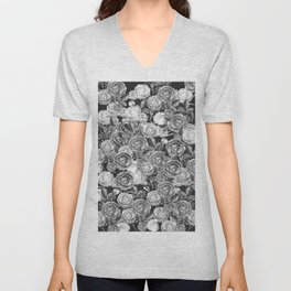 Vintage Roses Black And White Unisex V-Neck