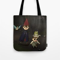 over the garden wall Tote Bags featuring Over the Garden Wall by Kallian
