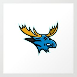 Bull Moose Head Mascot Art Print