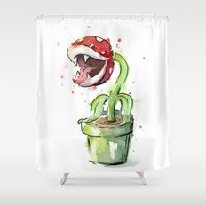 Piranha Plant Art Nintendo Mario Videogame Geek Gaming Shower Curtain