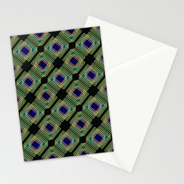 Gold Foil Boxes in Boxes Peacock Blue on Black Stationery Cards