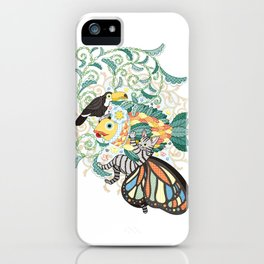 Plant fish and Butterfly cat and Toco toucan (remake) iPhone Case