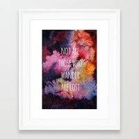 not all who wander Framed Art Prints featuring Not All Who Wander by MichelleLynne