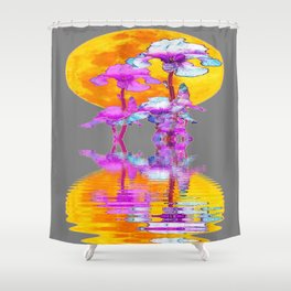 PURPLE-WHITE IRIS MOON REFLECTION Shower Curtain