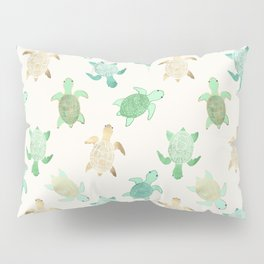 Gilded Jade & Mint Turtles Pillow Sham