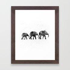 Elephants 2, black and white Framed Art Print