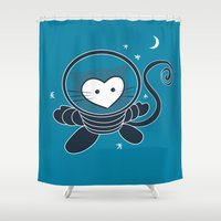 space cat Shower Curtains featuring Space Cat by Compassion Collective