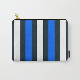 Modern Decorative Pattern Stripes Blue White Vertical Carry-All Pouch