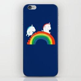 Unicorn on rainbow slide iPhone Skin