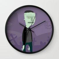 frankenstein Wall Clocks featuring Frankenstein by Paula García