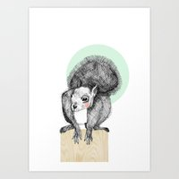 squirrel Art Prints featuring Squirrel by Wood + Ink