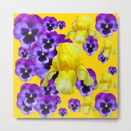 GOLDEN YELLOW IRIS PURPLE PANSY GARDEN Metal Print