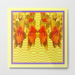 Golden Daffodils Pattern Metal Print