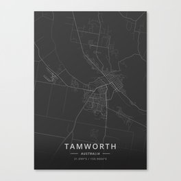 Tamworth, Australia - Dark Map Canvas Print