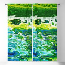 Blue waves and green grass Blackout Curtain