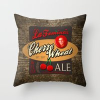 ale giorgini Throw Pillows featuring Cherry Wheat Ale by La Femina Brewing Co.